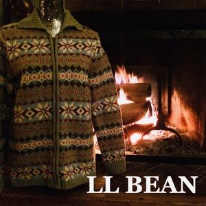 LL Bean Lambswool Zip Up Cardigan Sweater XL